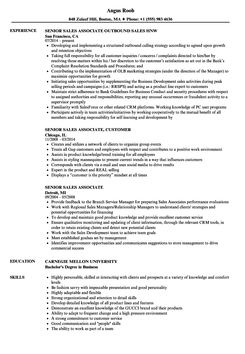 senior    sales associate resume samples