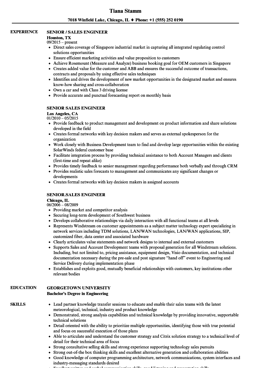 Senior / Sales Engineer Resume Samples | Velvet Jobs