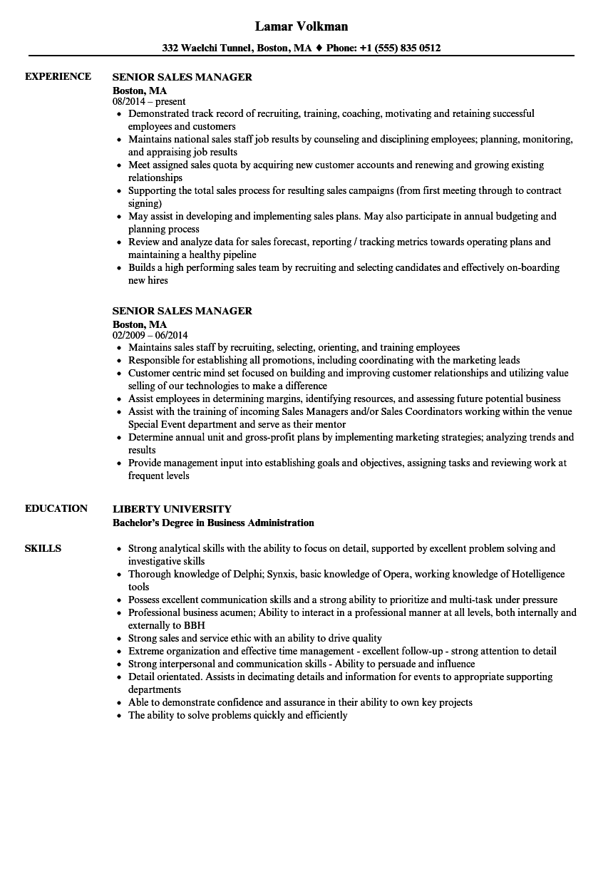Senior Sales Manager Resume Samples | Velvet Jobs