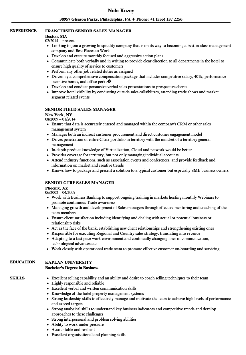 Senior Sales Manager Sales Manager Resume Samples
