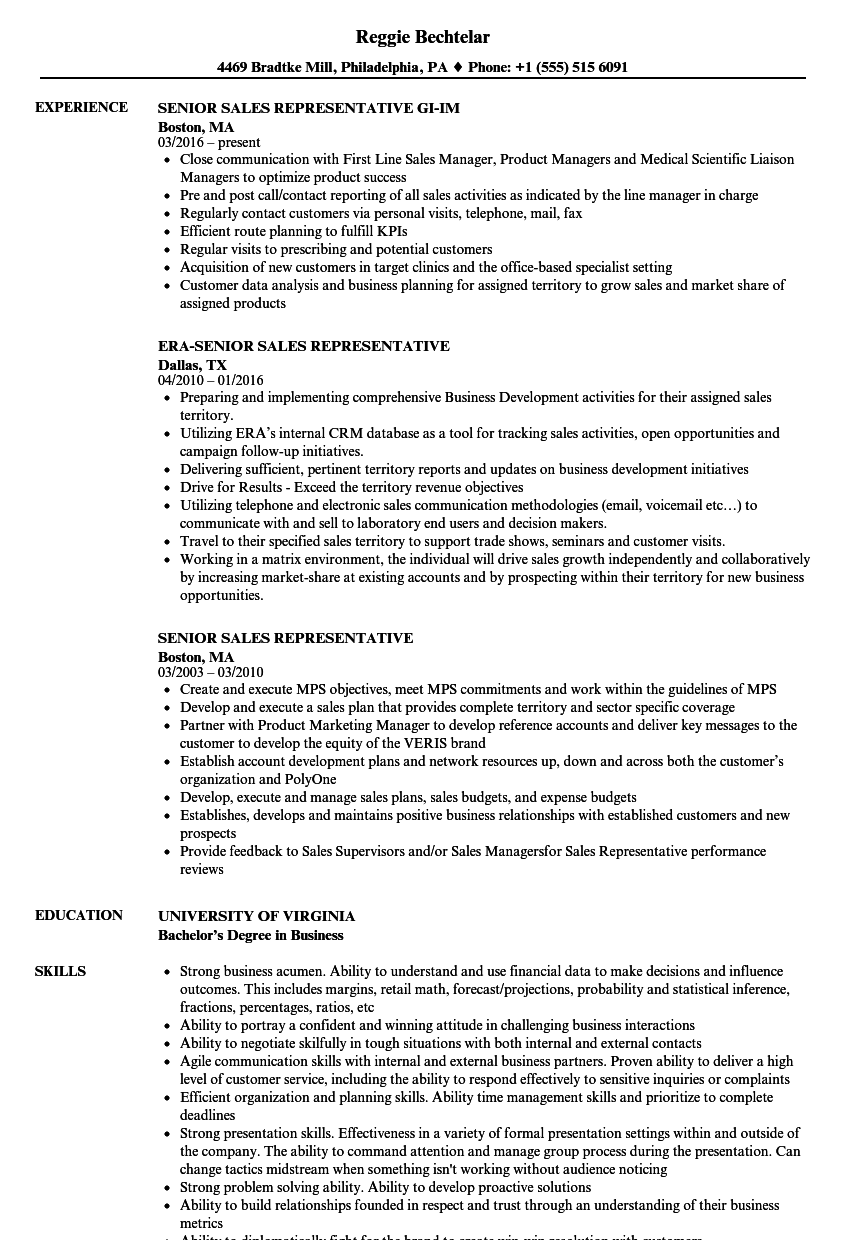 Senior Sales Representative Resume Samples Velvet Jobs