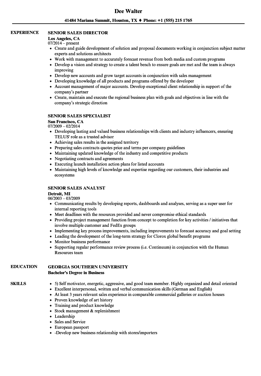 Senior Sales Resume Samples | Velvet Jobs