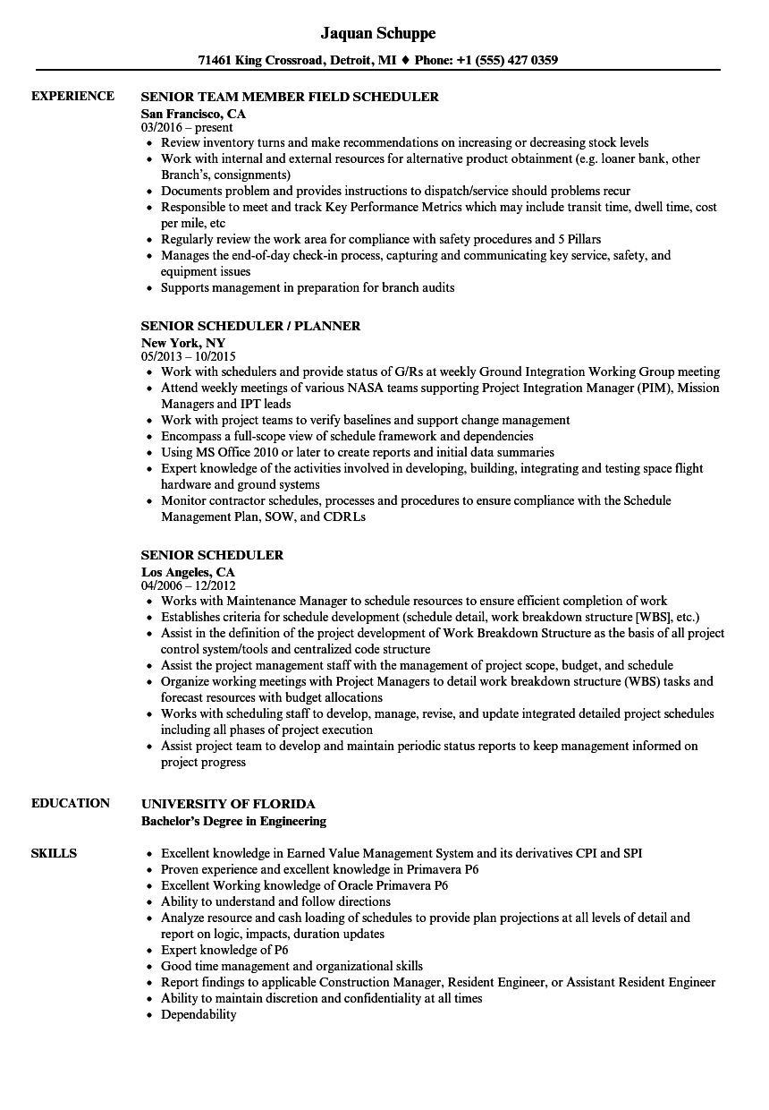 senior scheduler resume samples