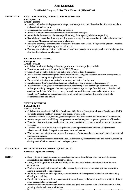 senior scientist resume samples
