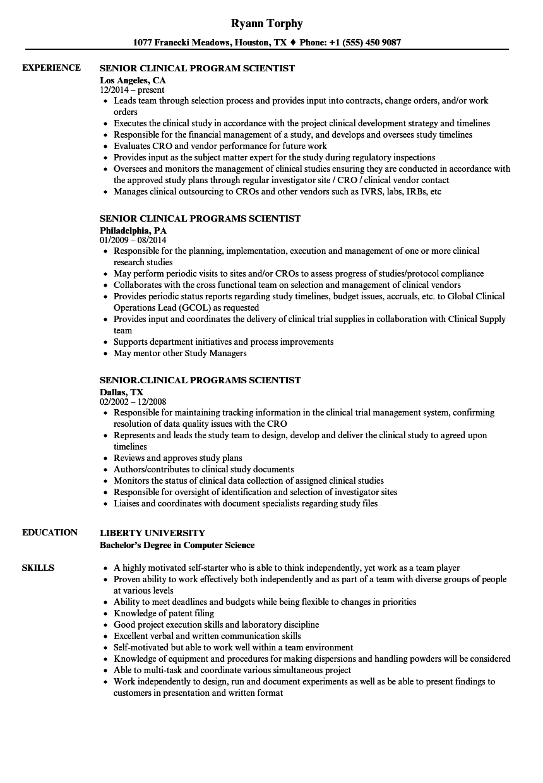 senior scientist     senior    scientist resume samples