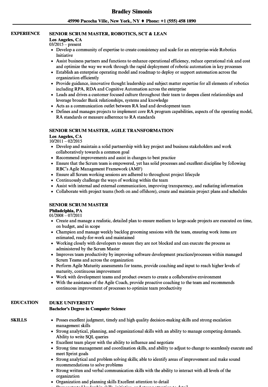 download senior scrum master resume sample as image file - Scrum Master Resume Sample