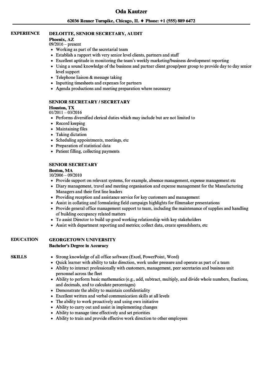 senior secretary resume samples