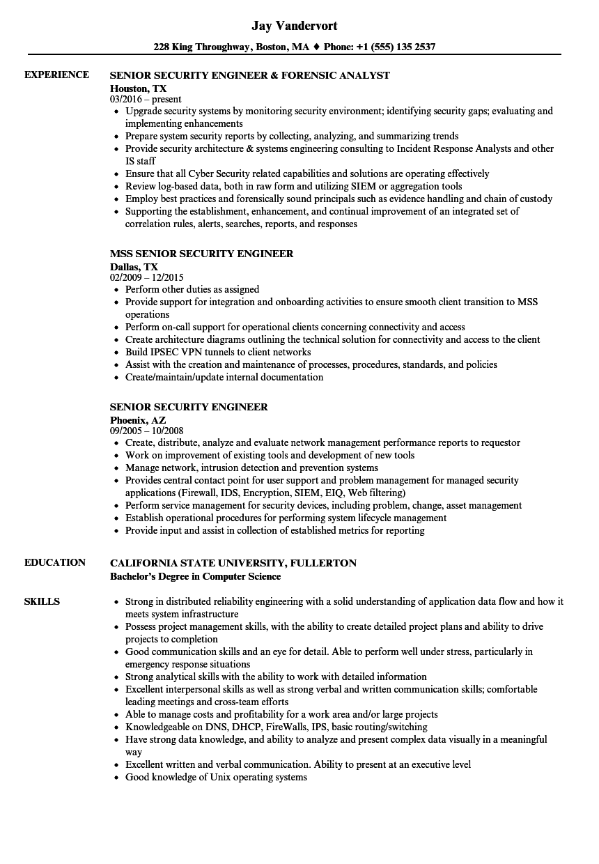 Senior Security Engineer Resume Samples   Velvet Jobs