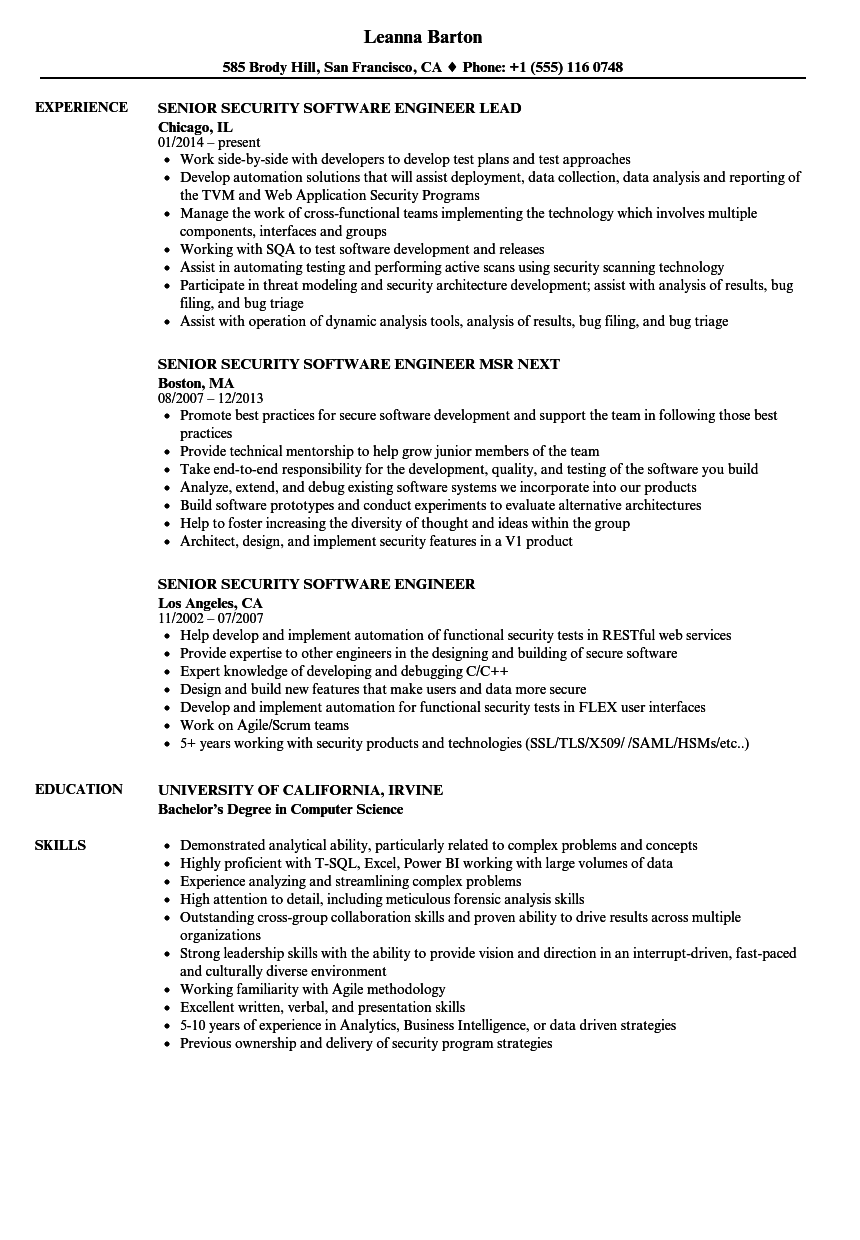 Senior Security Software Engineer Resume Samples | Velvet Jobs