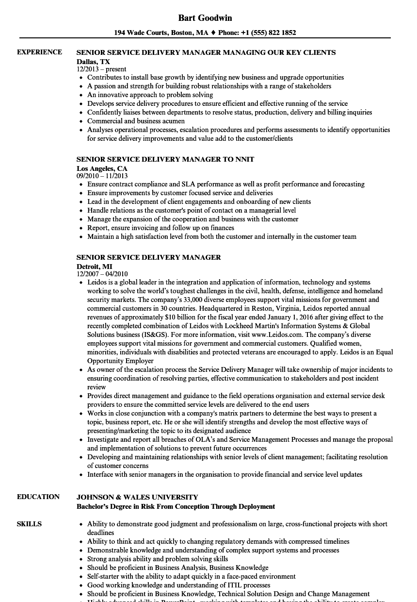 senior service delivery manager resume samples