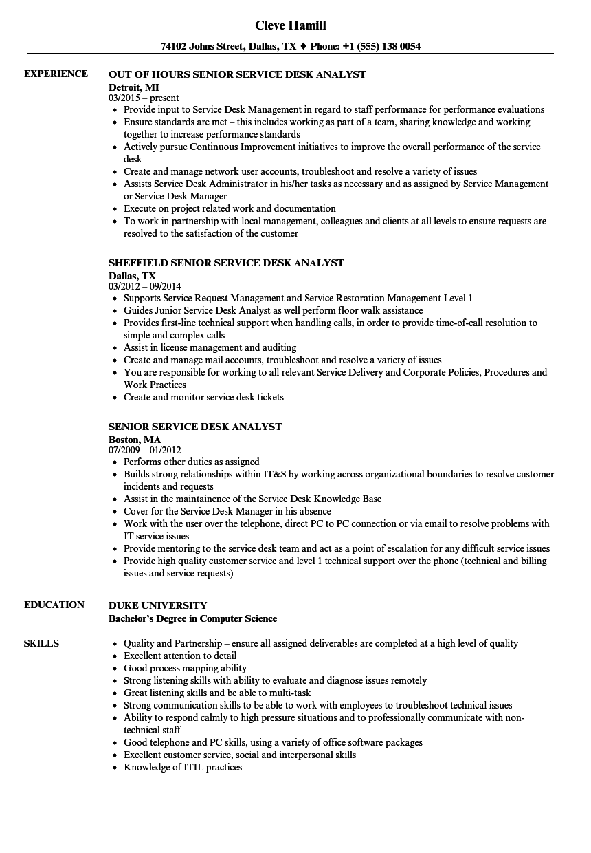 senior service desk analyst resume samples