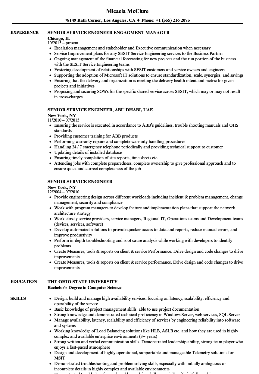senior service engineer resume samples