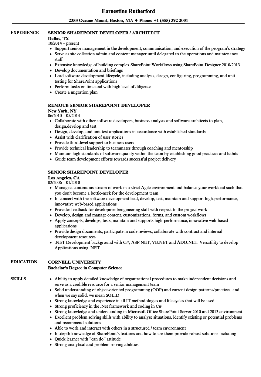 senior sharepoint developer resume samples