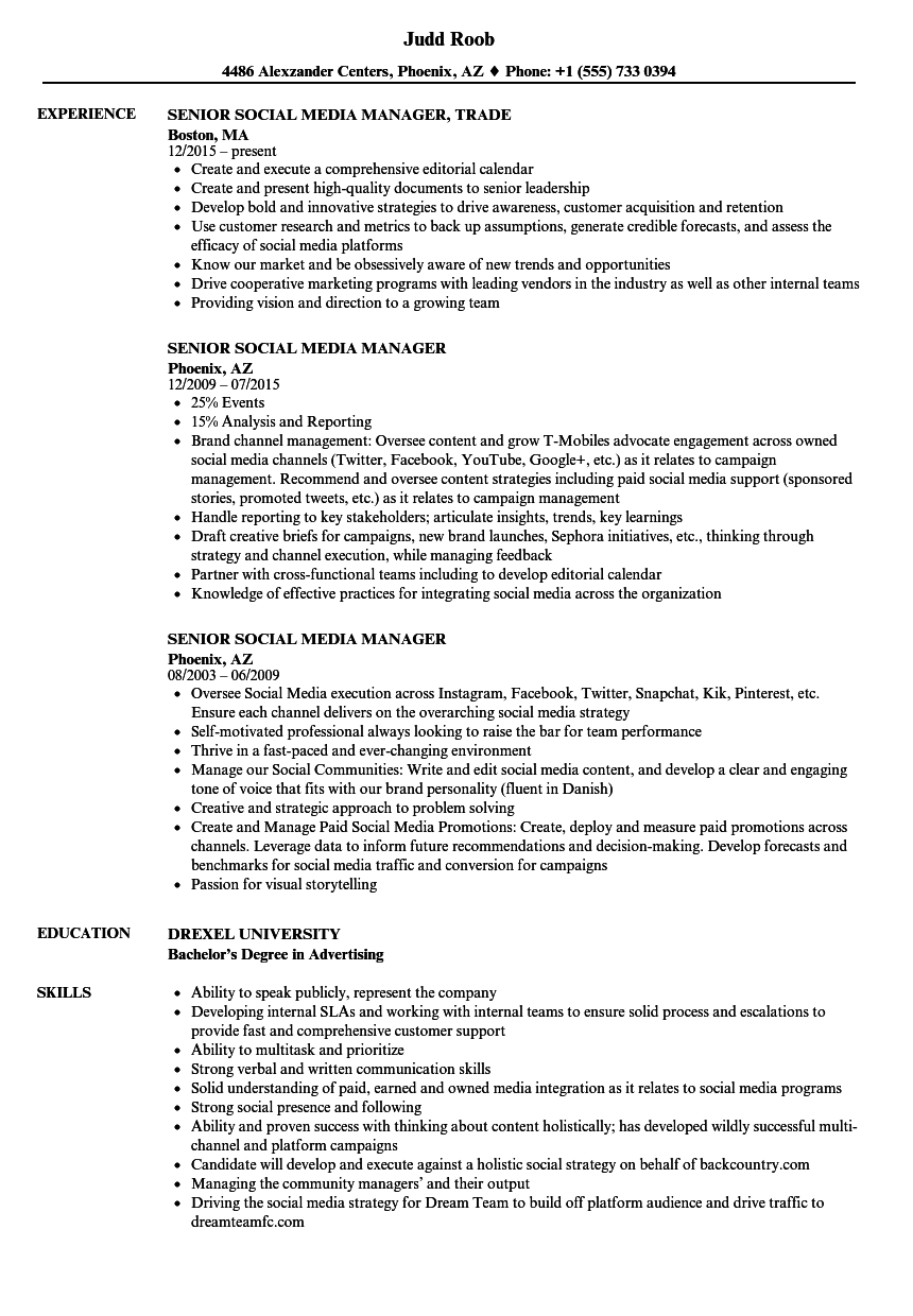 senior social media manager resume samples