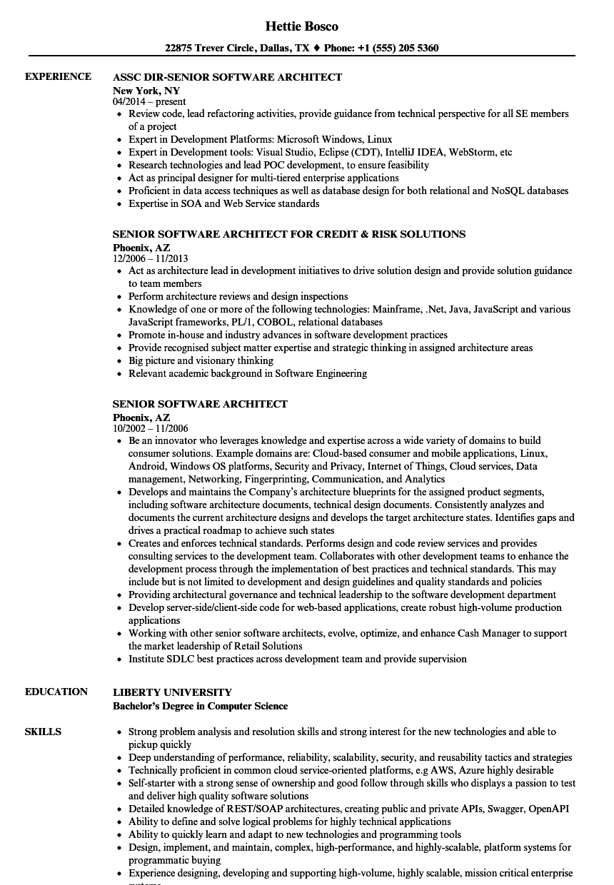 senior software architect resume samples