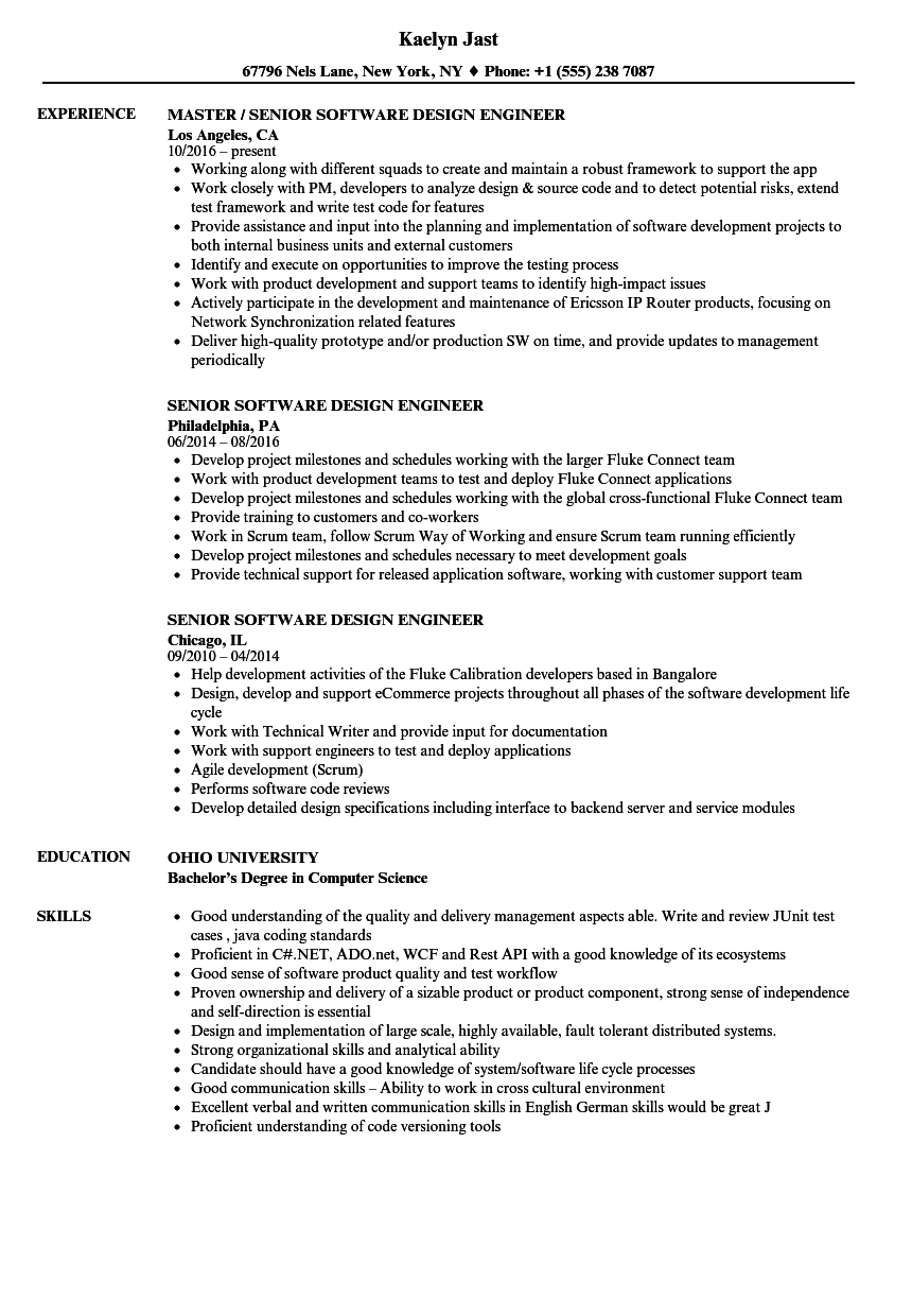 senior software design engineer resume samples