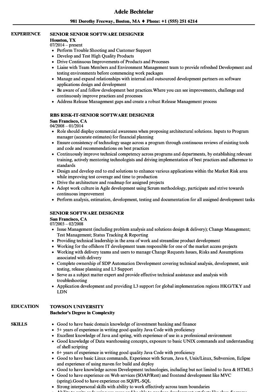 senior software designer resume samples