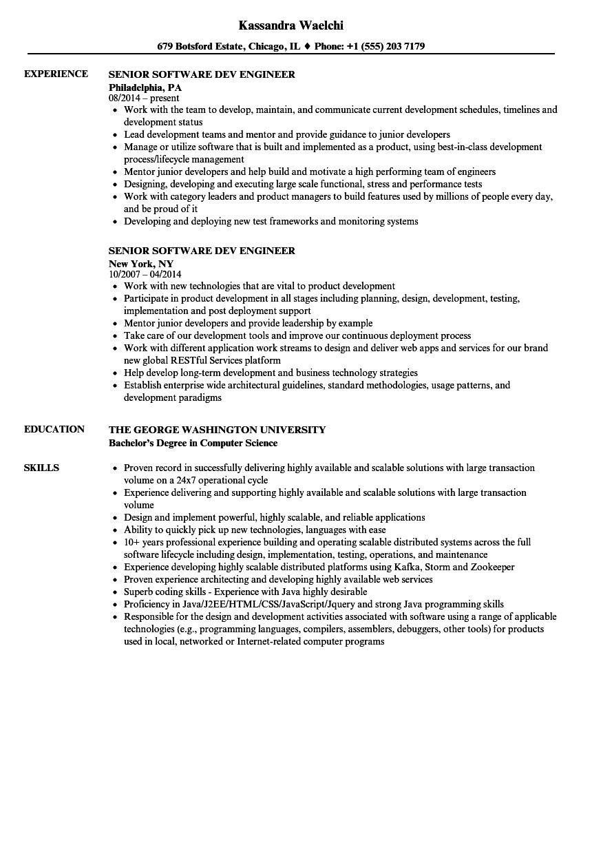 senior software dev engineer resume samples
