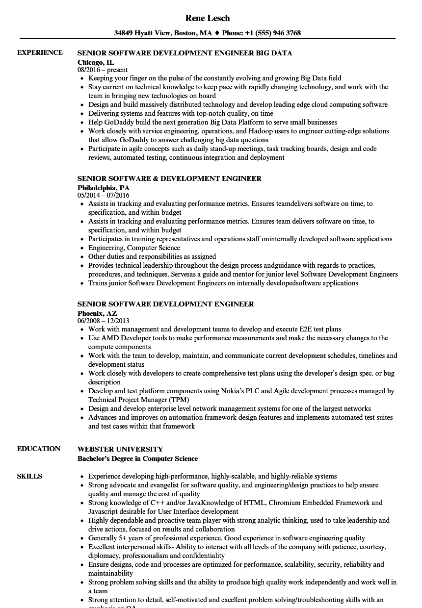 Senior Software Development Engineer Resume Samples | Velvet Jobs