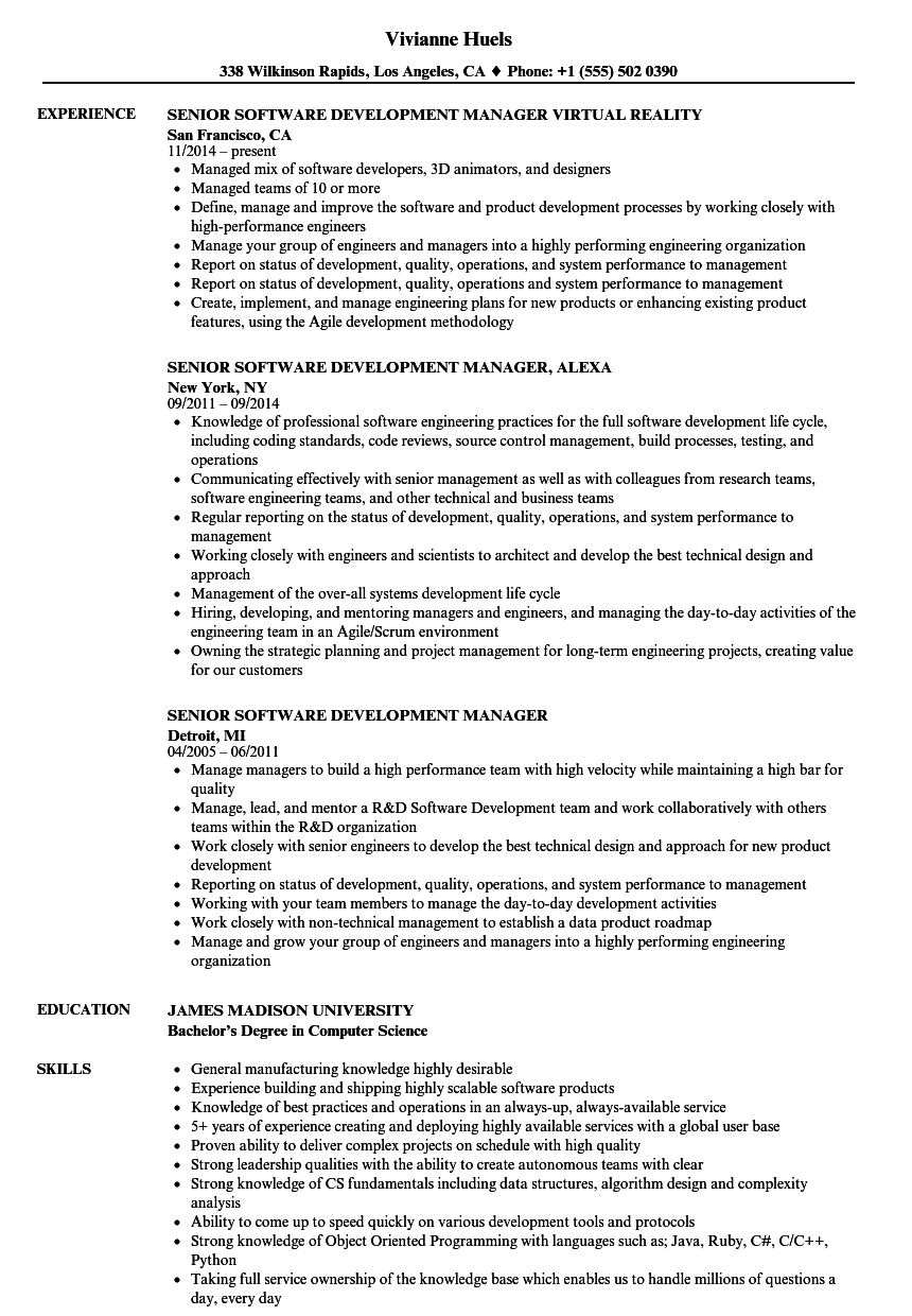 Senior Software Development Manager Resume Samples Velvet Jobs