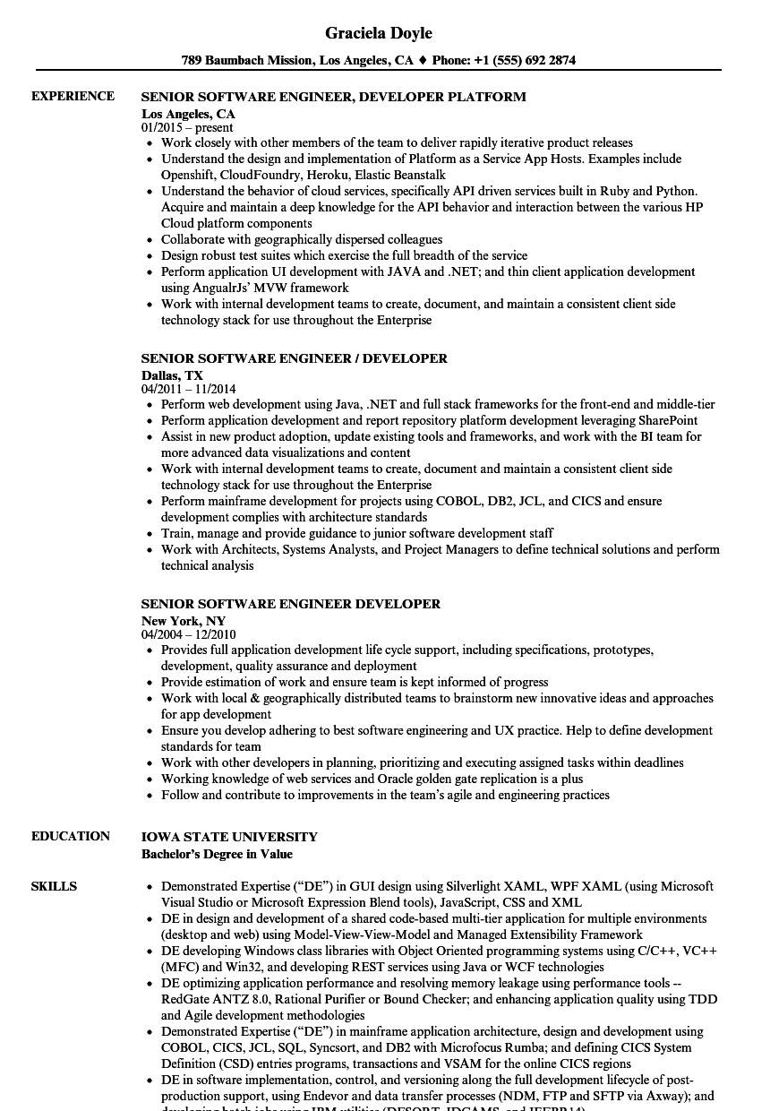 senior software engineer    developer resume samples