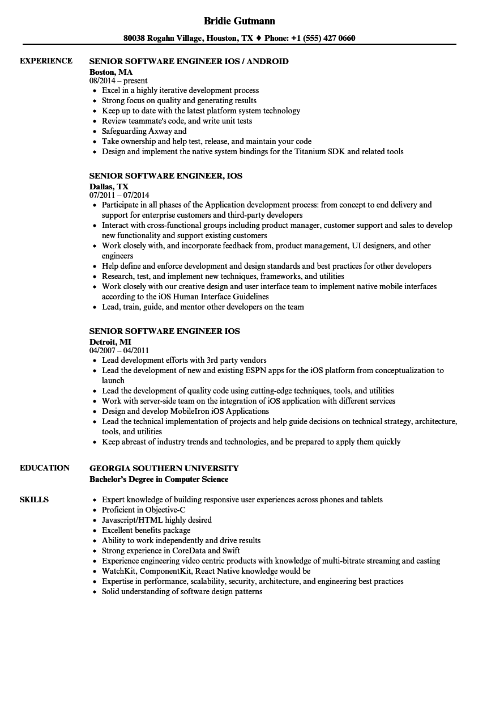 resume sample for software engineer