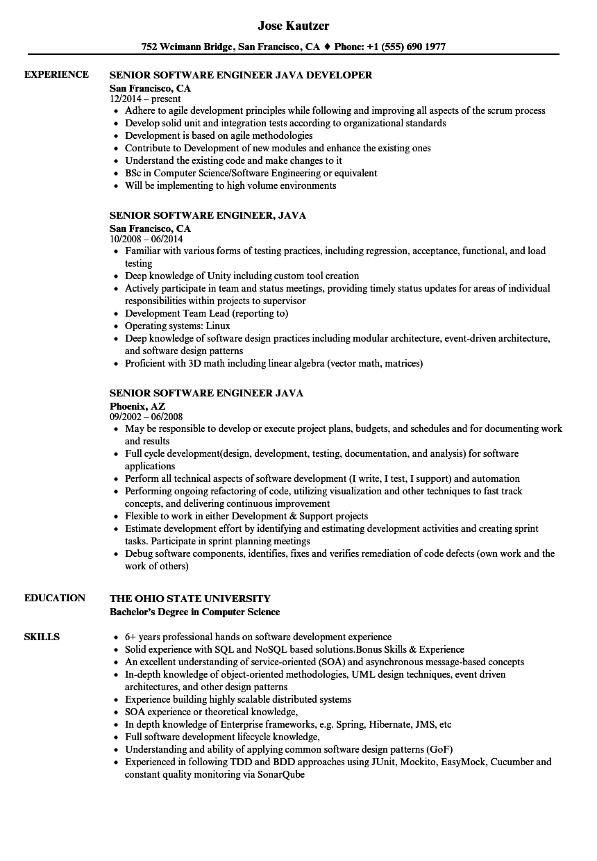 Senior Software Engineer Java Resume Samples | Velvet Jobs