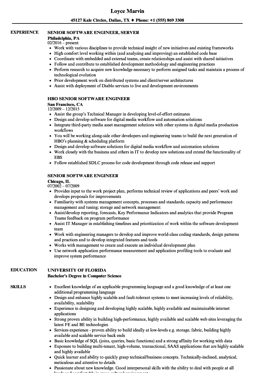 senior software engineer resume samples