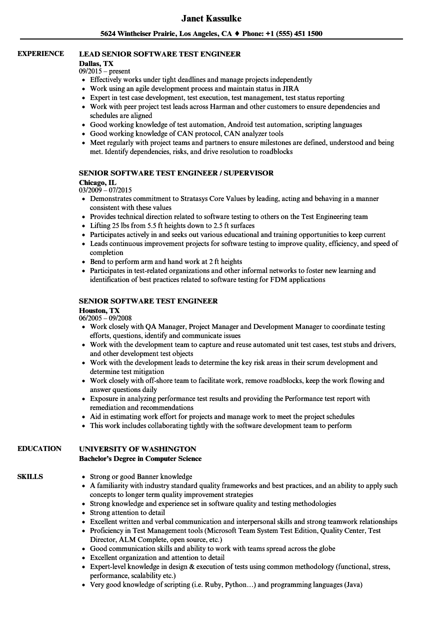 senior software test engineer resume samples
