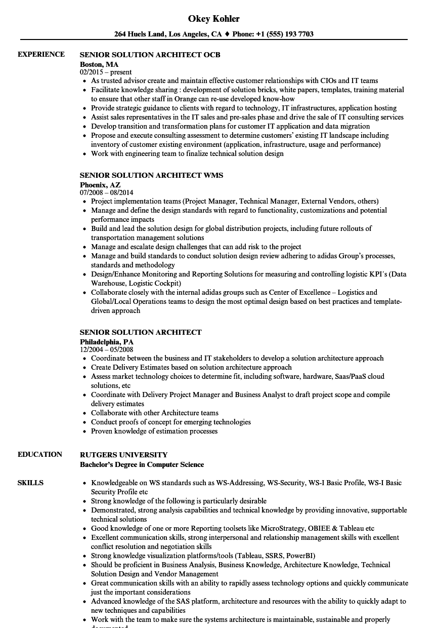 Senior Solution Architect Resume Samples | Velvet Jobs