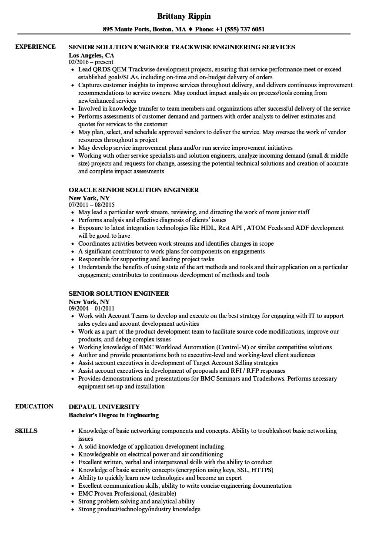 senior solution engineer resume samples