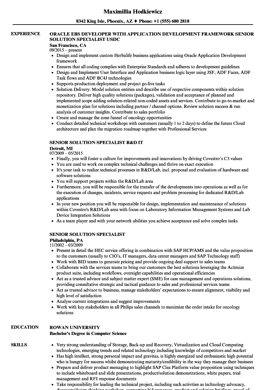 Senior Solution Specialist Resume