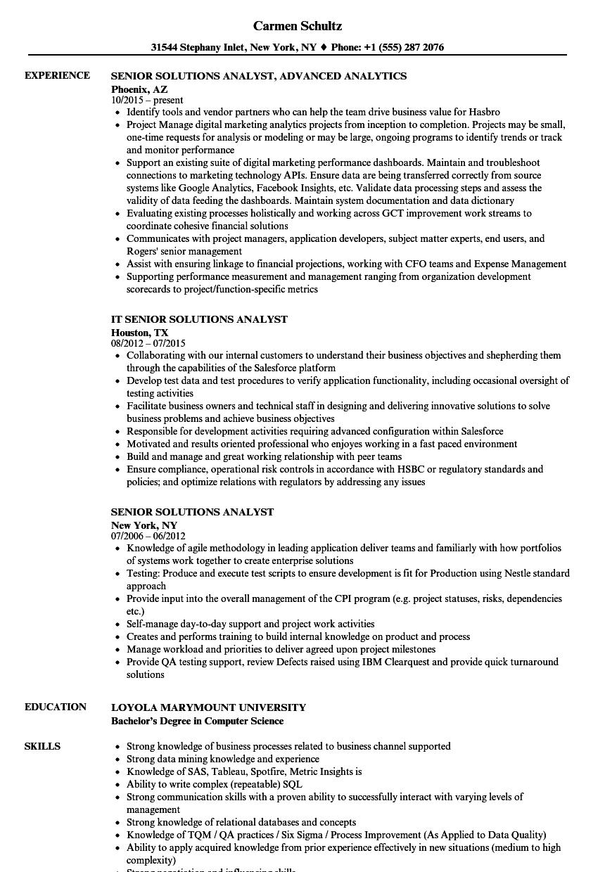 Senior Solutions Analyst Resume Samples | Velvet Jobs