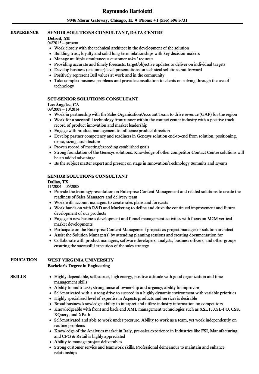 senior solutions consultant resume samples
