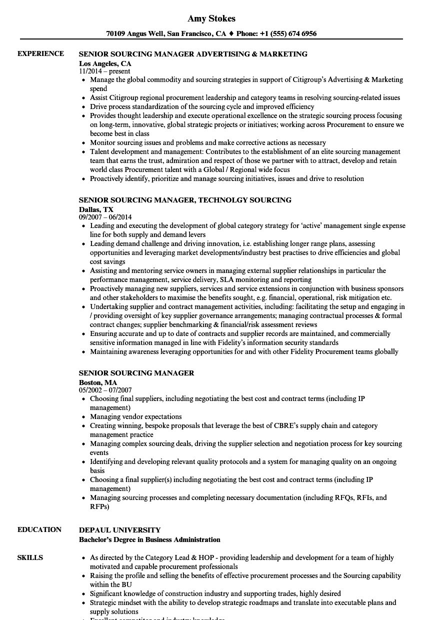 Senior Sourcing Manager Resume Samples Velvet Jobs