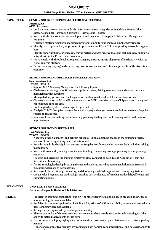 Senior Sourcing Specialist Resume Samples