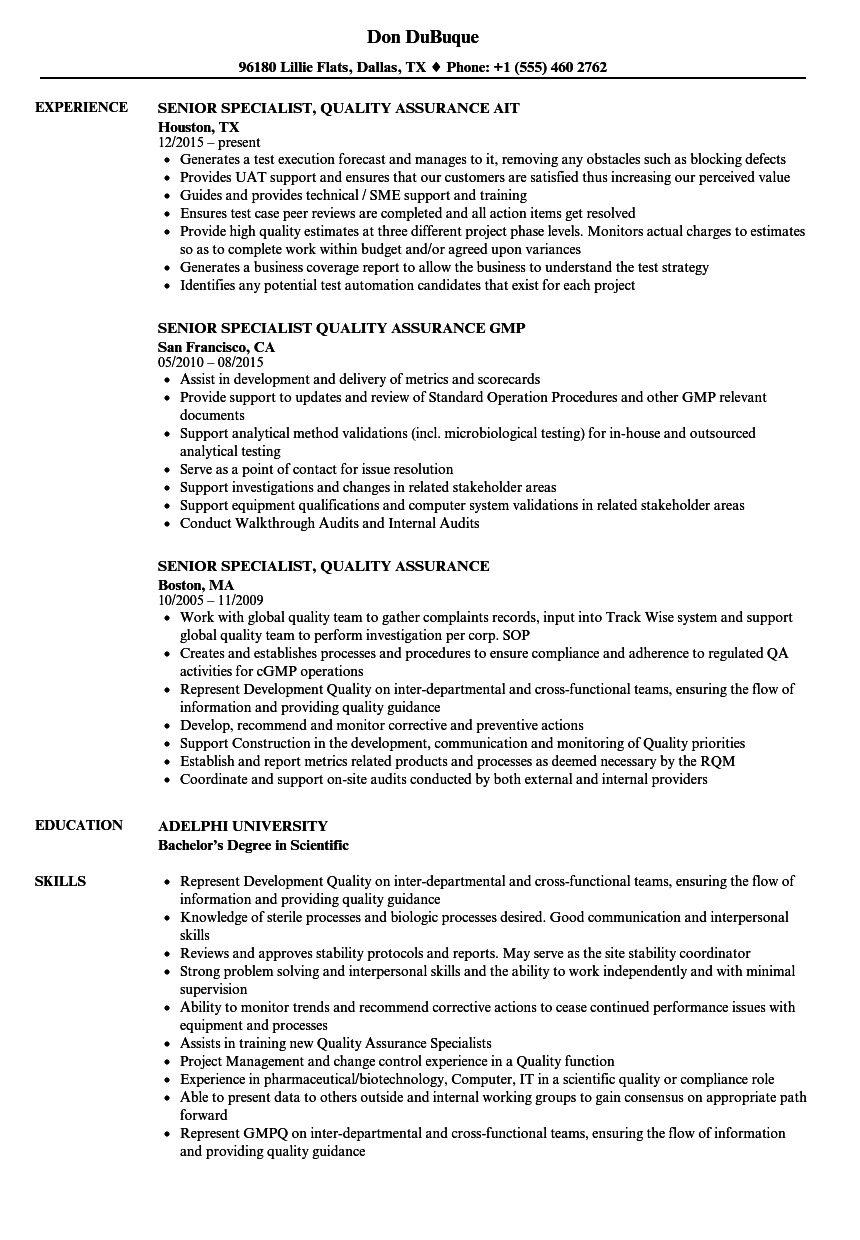 Senior Specialist Quality Assurance Resume Samples Velvet Jobs