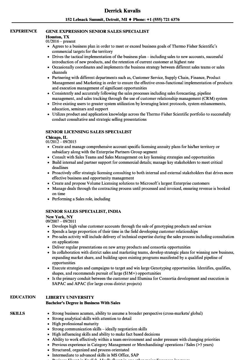 download senior specialist sales resume sample as image file - Licensing Specialist Sample Resume