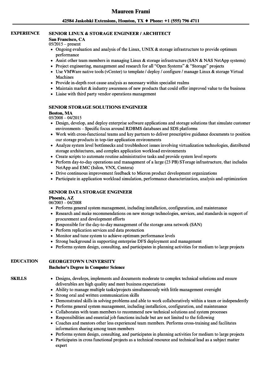Senior Storage Engineer Senior Resume Samples | Velvet Jobs