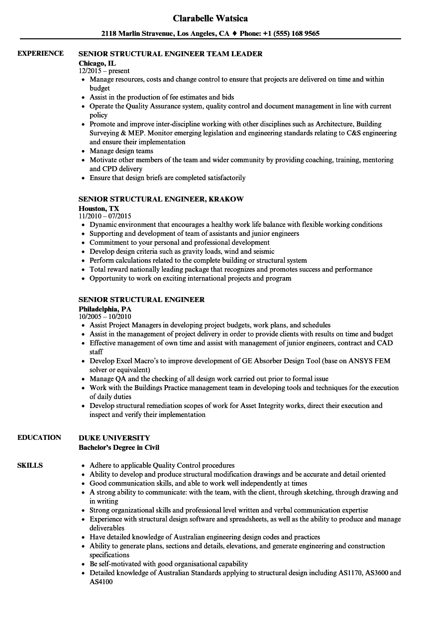 Senior Structural Engineer Resume Samples | Velvet Jobs