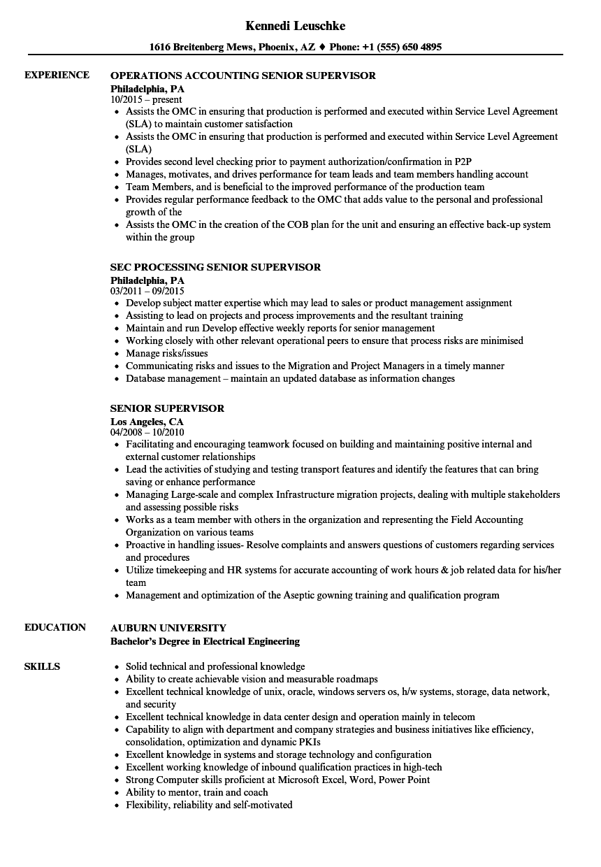 Senior Supervisor Resume Samples | Velvet Jobs