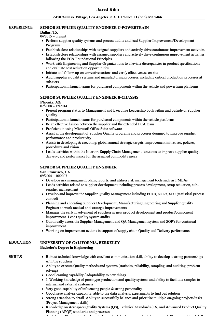 Senior Supplier Quality Engineer Resume Samples | Velvet Jobs