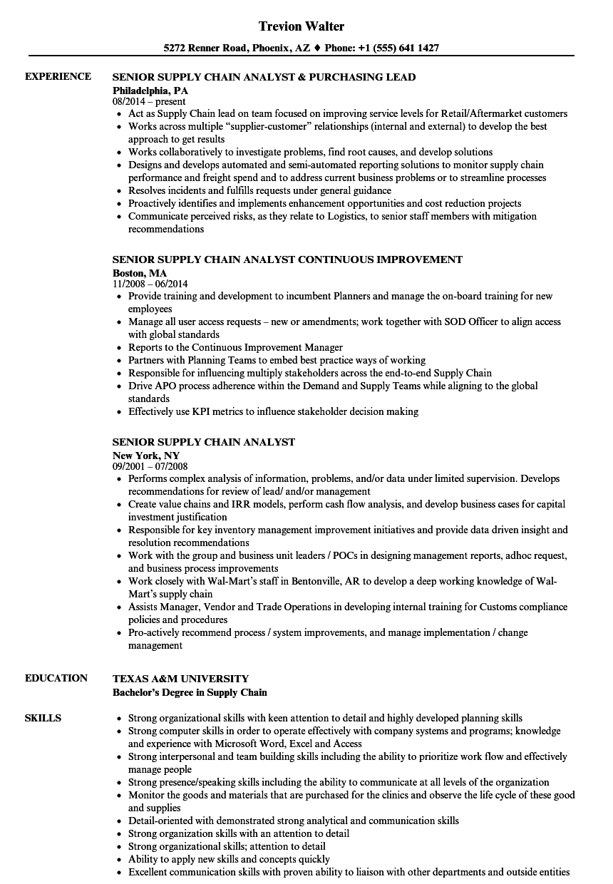 Download Senior Supply Chain Analyst Resume Sample As Image File