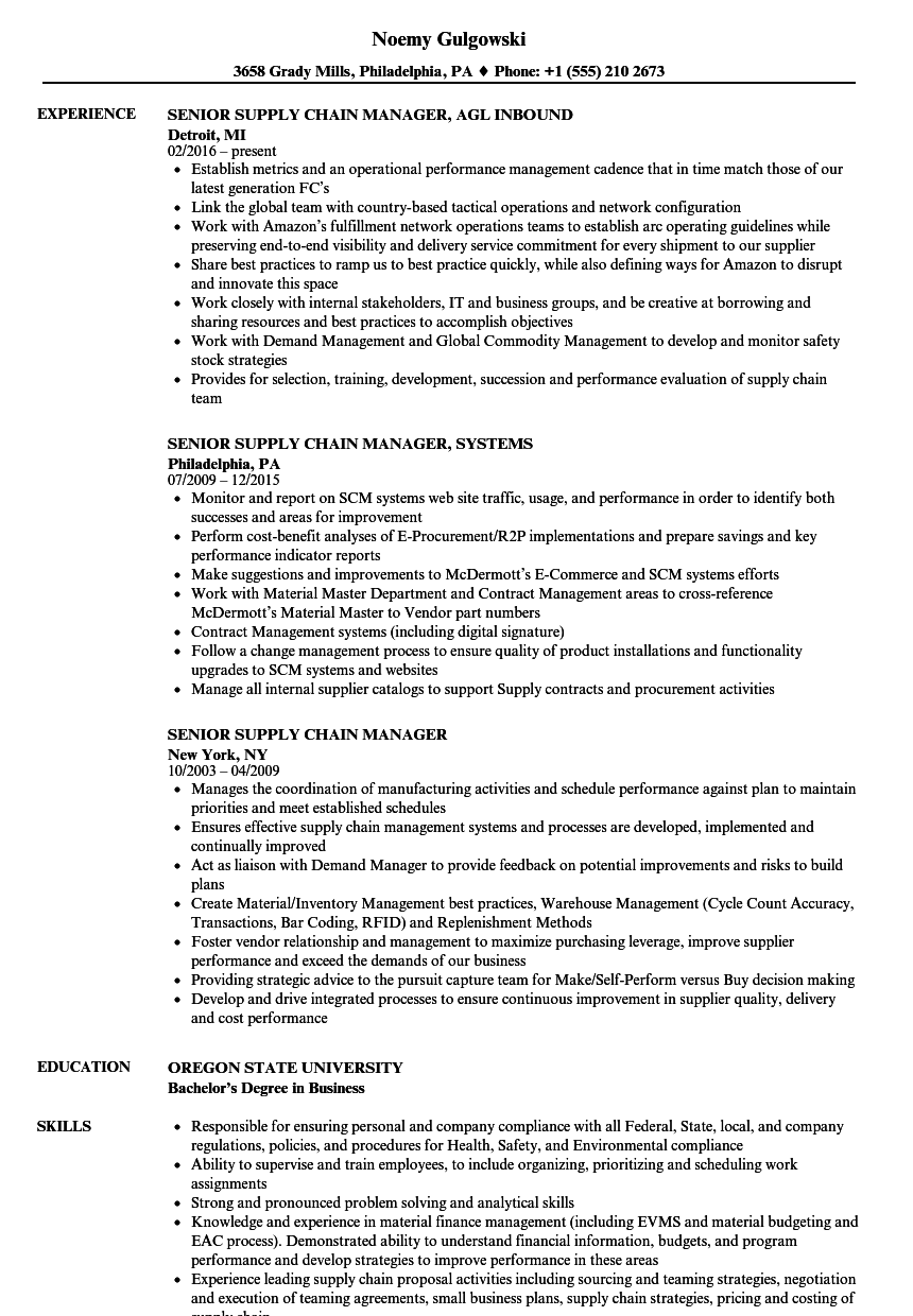 Senior Supply Chain Manager Resume Samples | Velvet Jobs