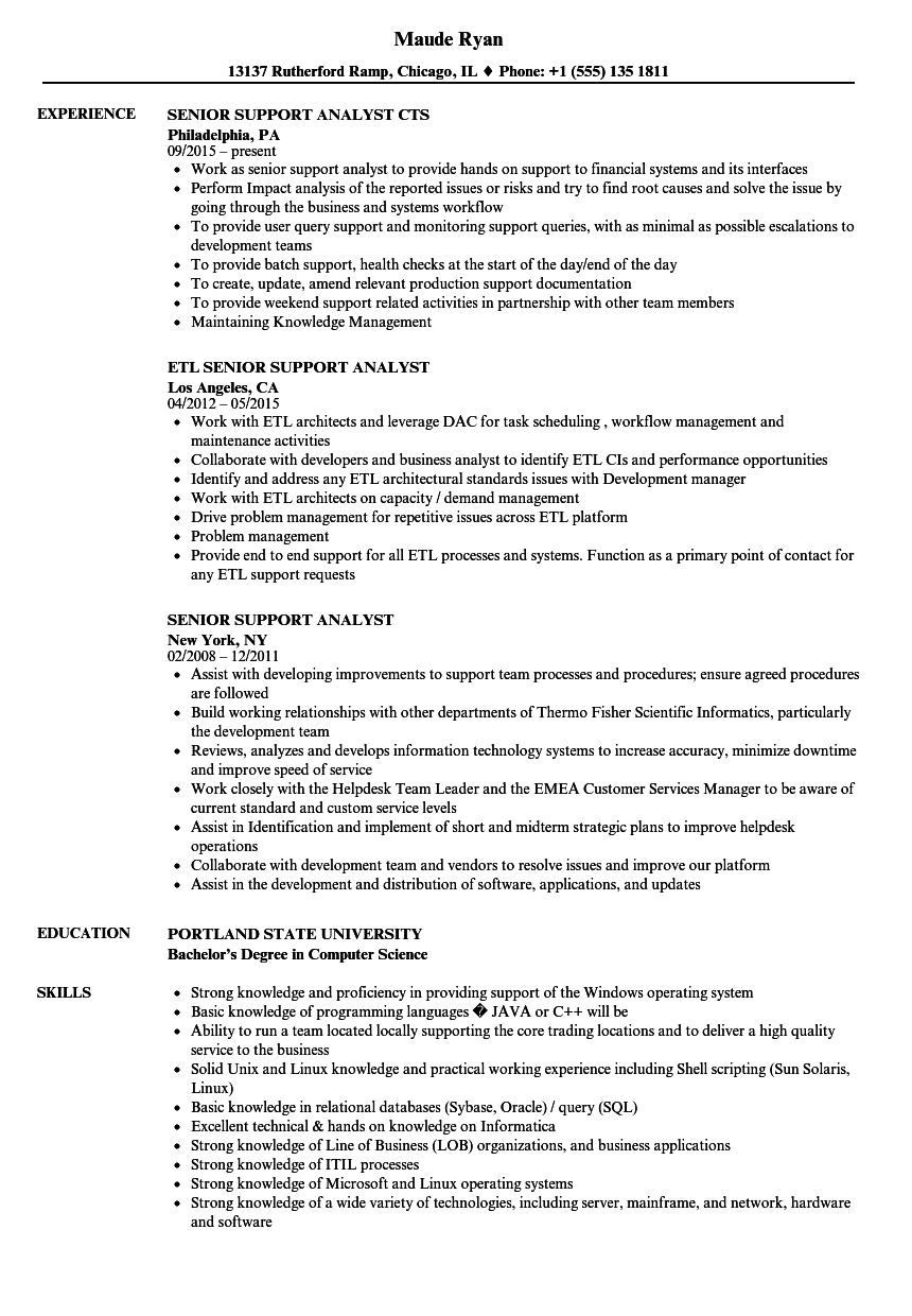 Senior Support Analyst Resume Samples | Velvet Jobs