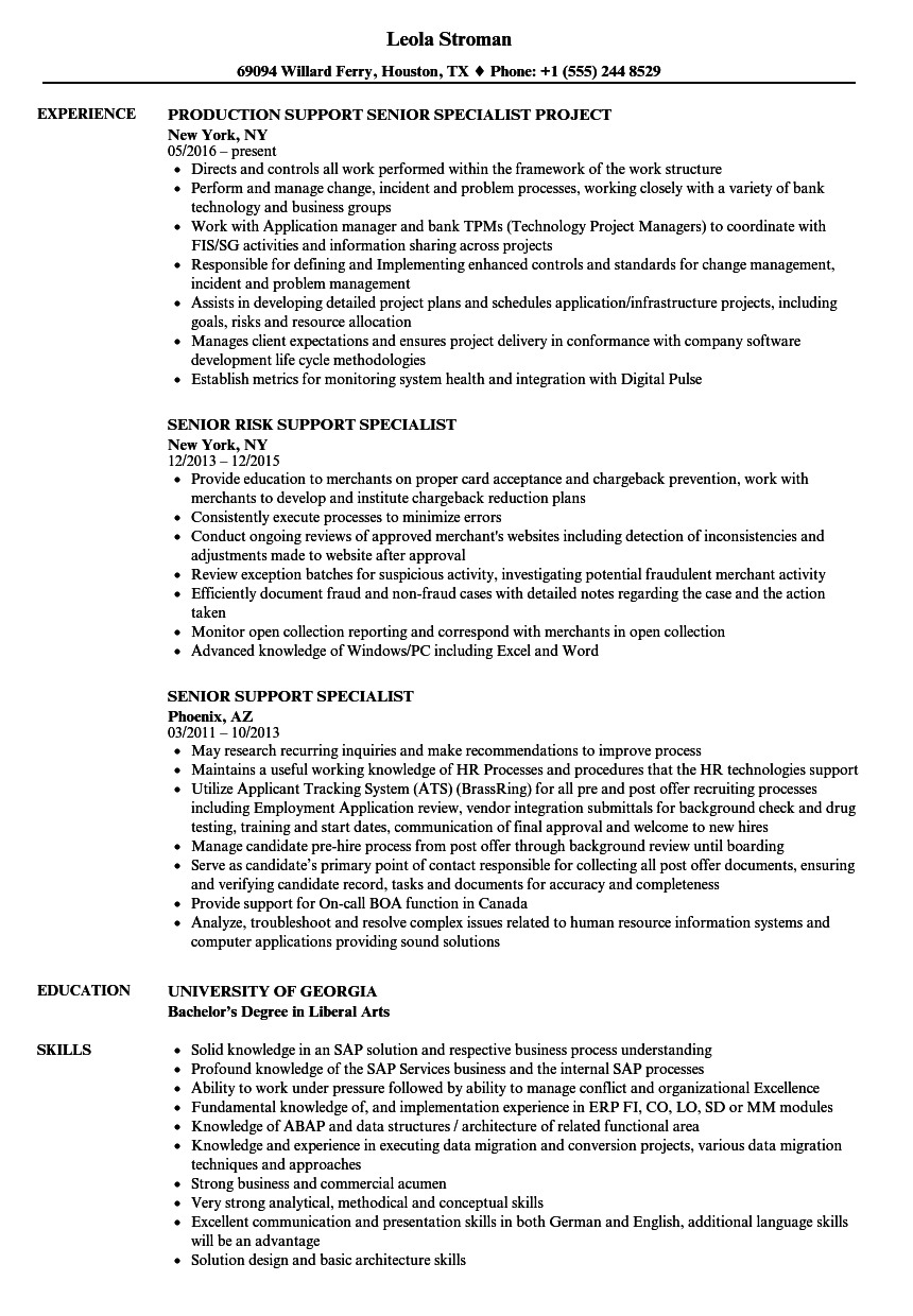 senior support specialist resume samples