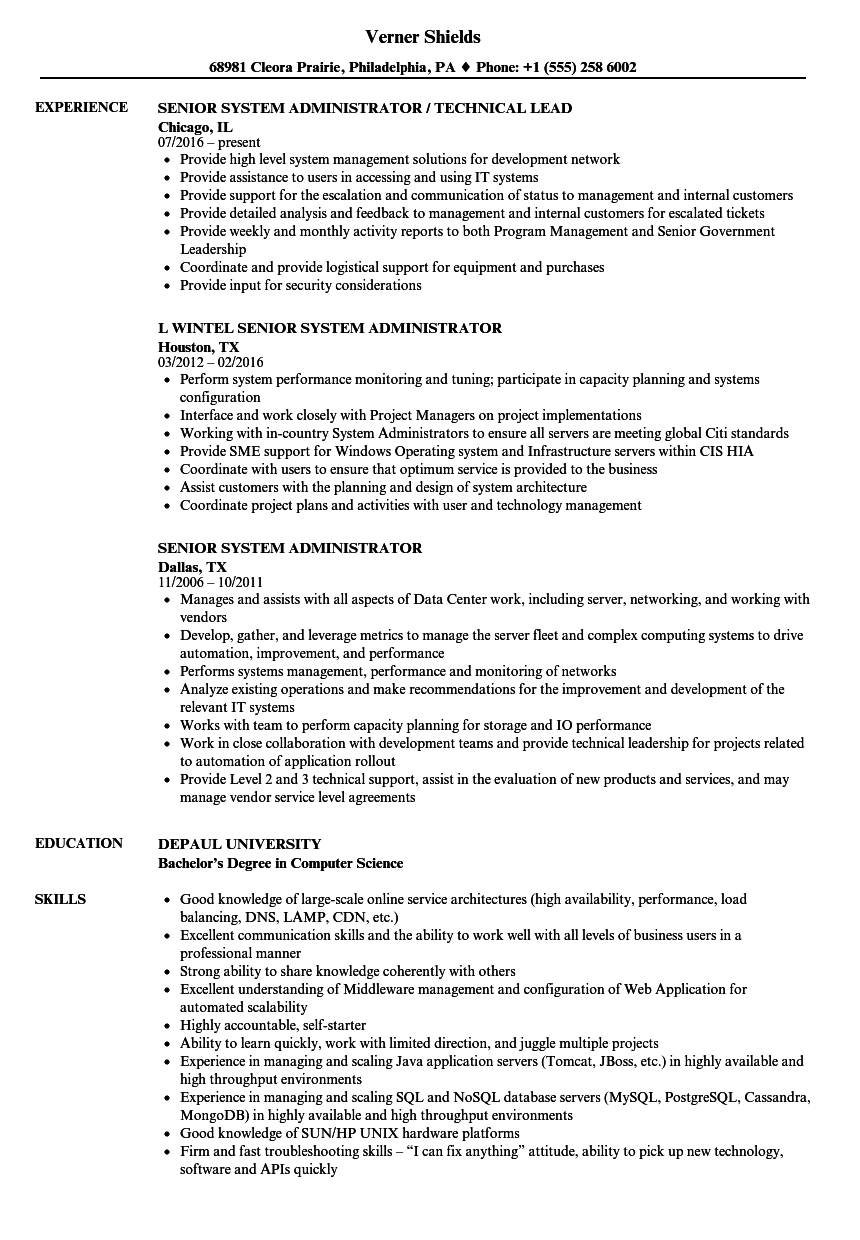 Senior System Administrator Resume Samples Velvet Jobs