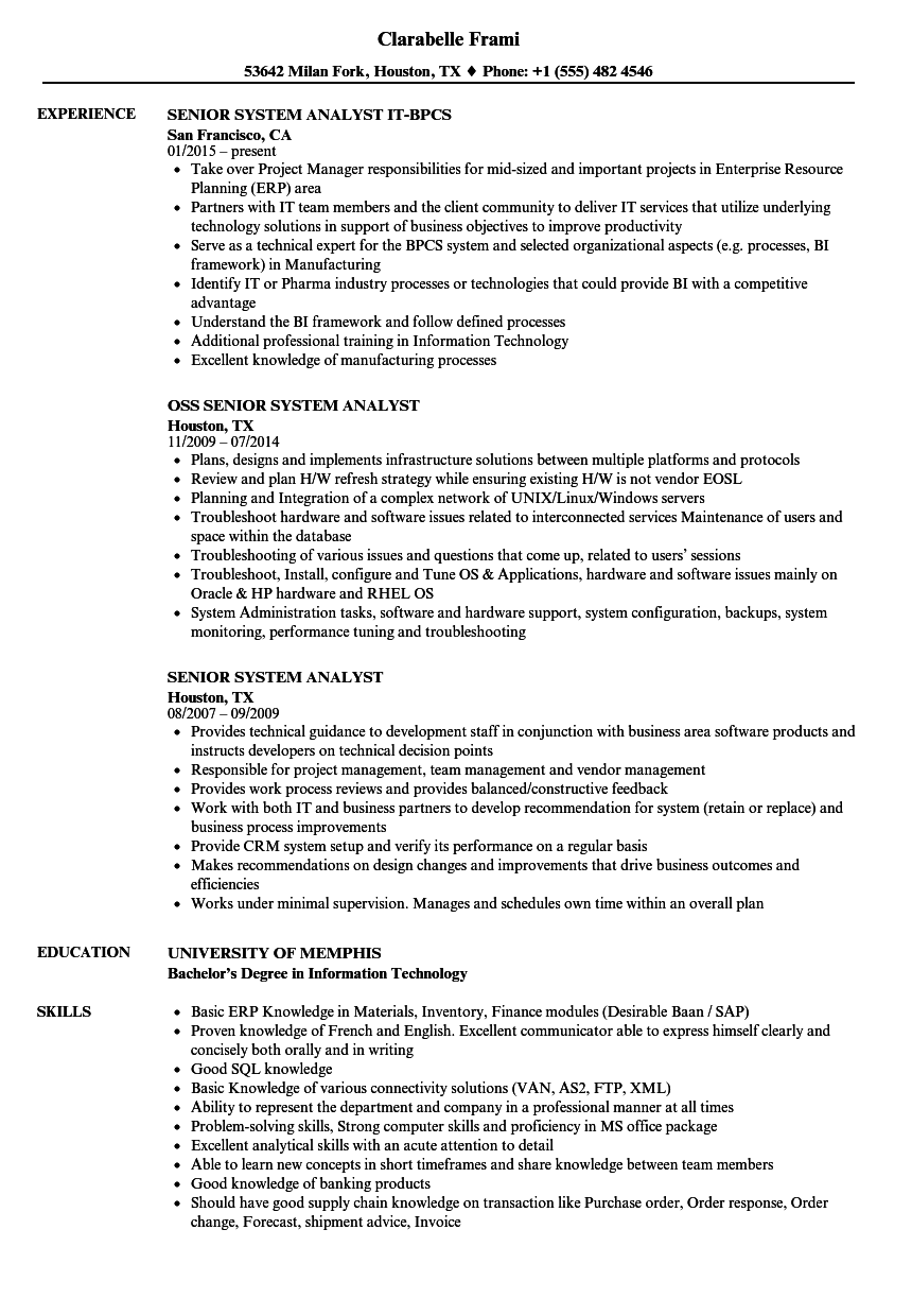 Download Senior System Analyst Resume Sample As Image File