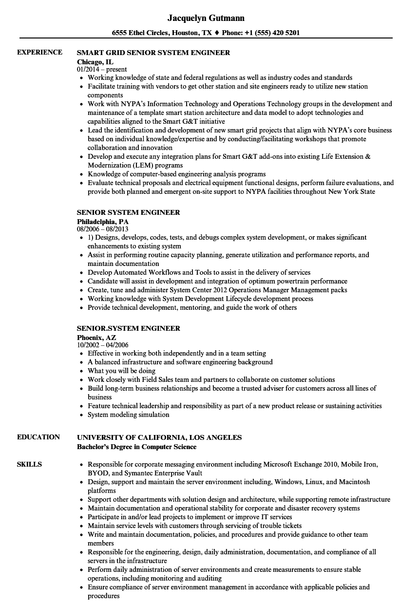 Senior System Engineer Resume Samples | Velvet Jobs