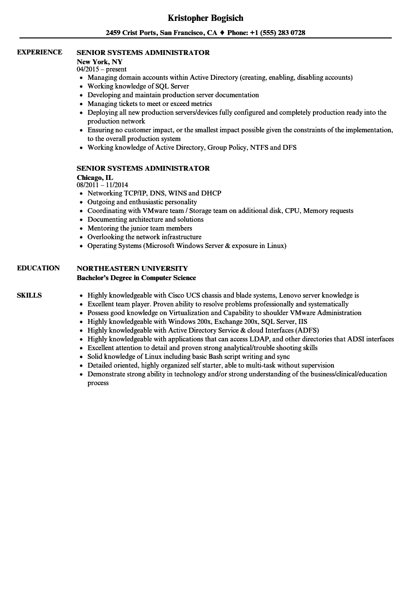 senior systems administrator resume samples